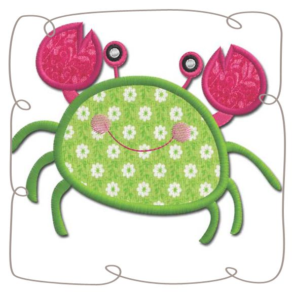 Crab Applique machine Embroidery Design pattern-INSTANT DOWNLOAD