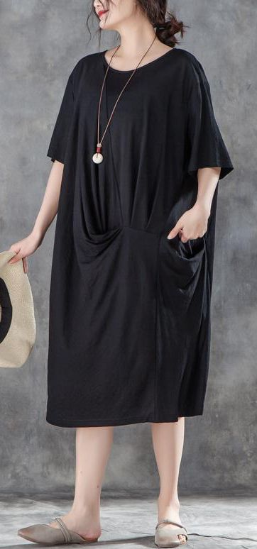 d93fe0abe1a baggy-cotton-shift-dress-plus-size-clothing-Women-Loose-Baggy-Summer-Short- Sleeve-Black-Dress