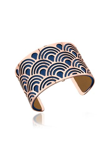 Les Georgettes Poisson Rose Gold Plated Bracelet w/Navy Blue and Beige Reversible Leather Strap