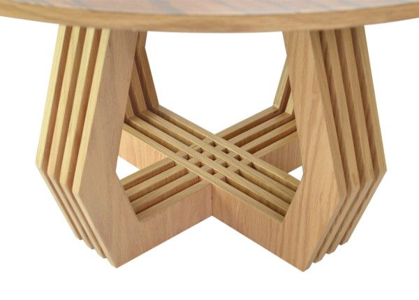 TRAMA is a coffee table and side table, both with intersected serial planes inspired by handmade Mexican textiles. They don't require any extra assembly tools and can be easily taken apart or put together. The oak used provides an organic, varied texture and look to the tables. http://design-milk.com/set-tables-stool-dont-require-tools-assembly/