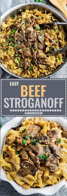 Easy Beef Stroganoff has all the delicious flavors you love about this classic comfort food with tender steak coated in a creamy & delicious mushroom sauce. Best of all made entirely in just ONE PAN / POT making it perfect for busy weeknights.