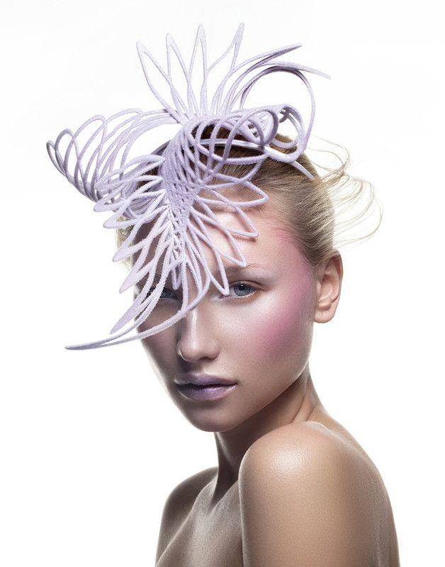 Emma Yeo   Platalea Ajaja   Purple and Headpieces   LOVEHATS.COM #millinery #judithm #hats