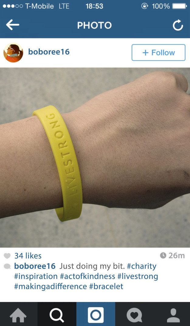 You could have displayed your charitable nature with a Livestrong bracelet.