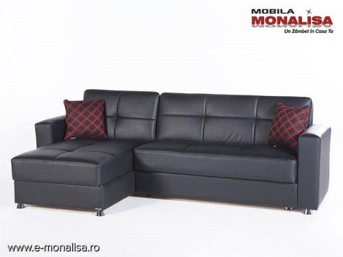 Canapele Extensibile Moderne.Coltar Extensibil Confortabil Pe Piele Ecologica Negru Elegant