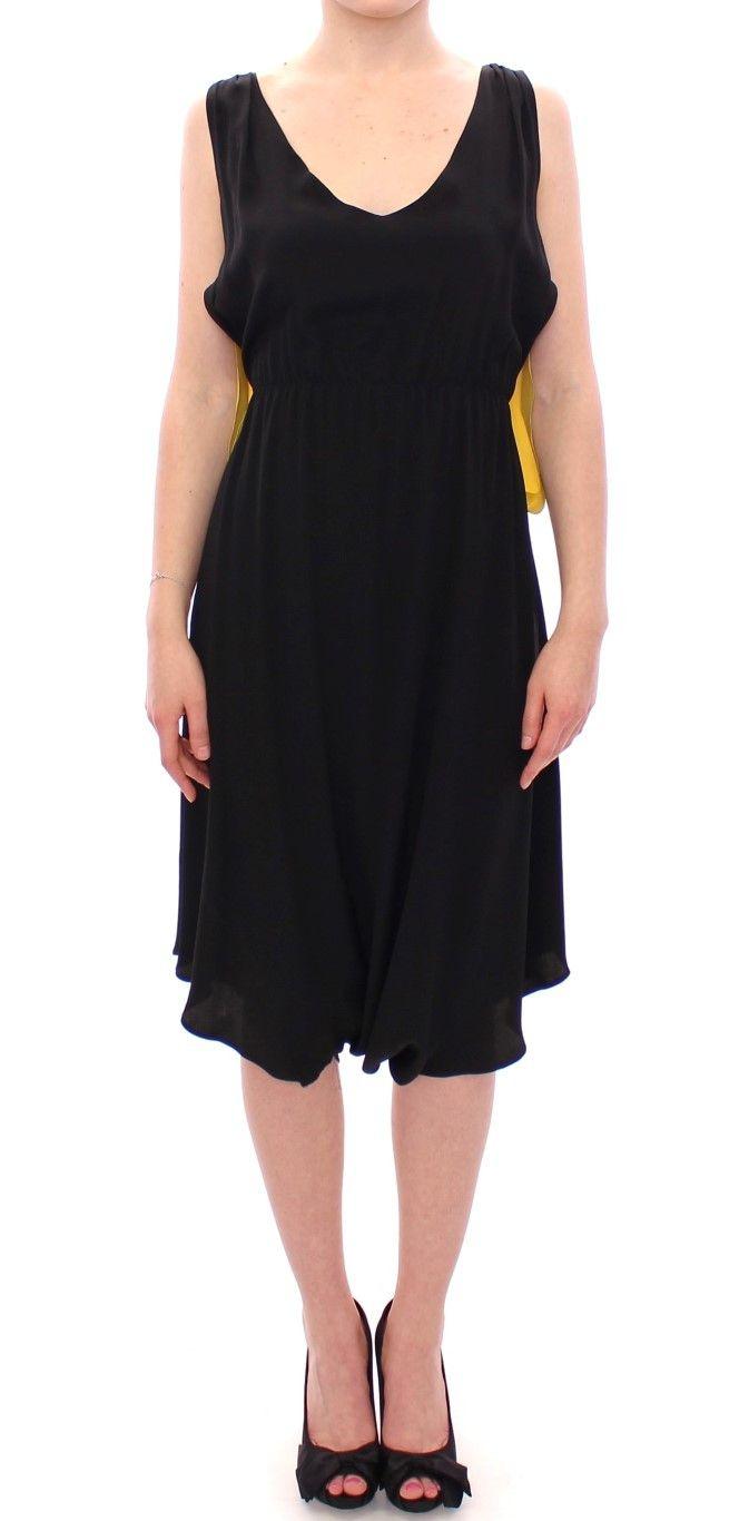 Black Yellow Silk Shift Sheath Coctail Dress