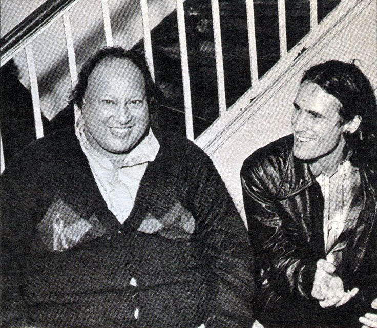Jeff Buckley with Qawwali legend Nusrat Fateh Ali Khan whom he (Jeff) considered a major influence c. 1996. Coincidently the two passed away the following year within a few months of each other. [983x856]
