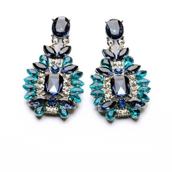 手机壳定制air max  infrared camo Stunning Statement Earrings Blue and teal jeweled statement earrings Absolutely gorgeous  All Sales Final Jewelry Earrings