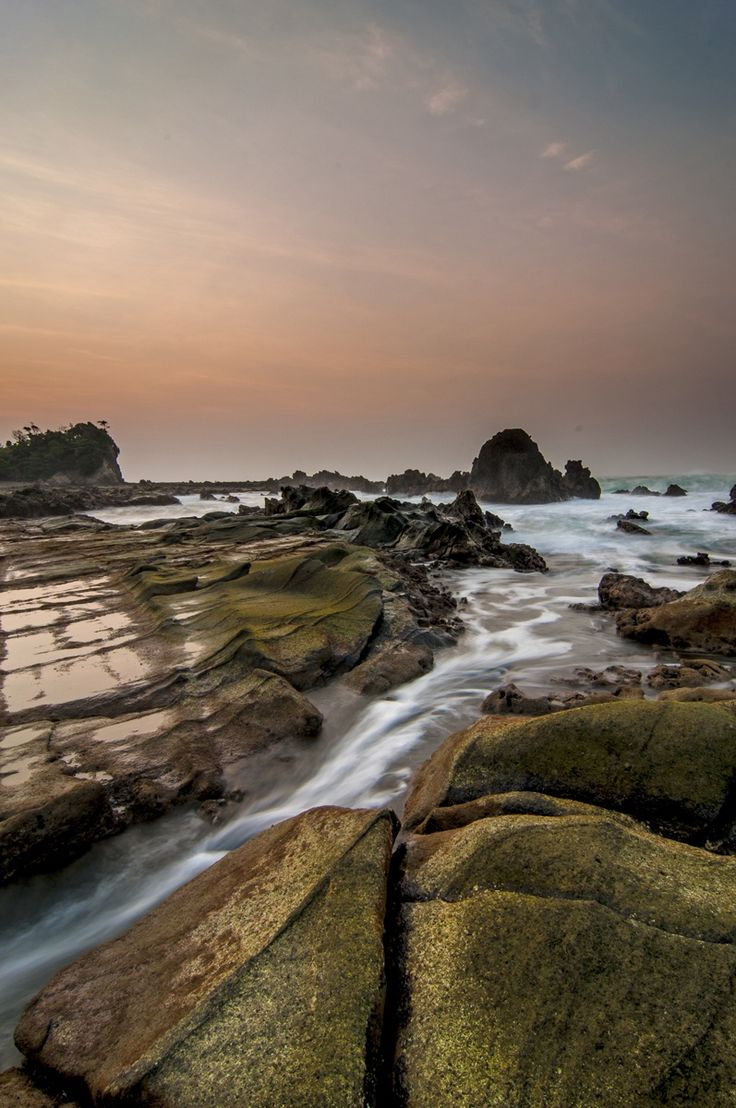 Flowing - Water scape at Sawarna Beach - Jawa Barat - Indonesia