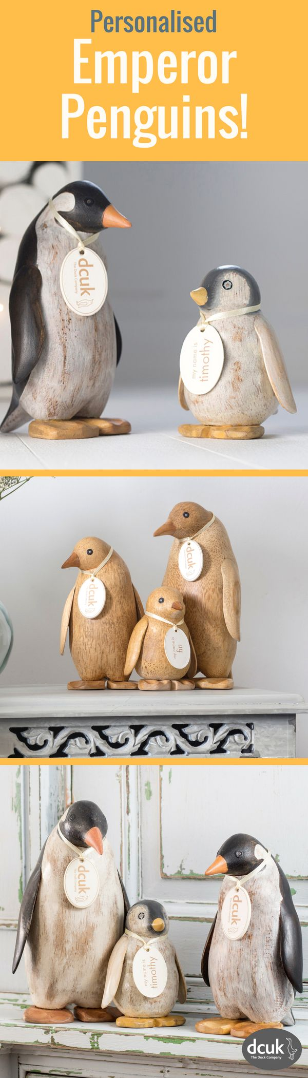 Our range of natural or painted finish Emperor Penguins have arrived! Perfect for penguin lovers as gifts or home decor accessories - each can be personalised with the name of your choice on their tags! See these, and explore our other penguin ranges at The Duck Company, DCUK!