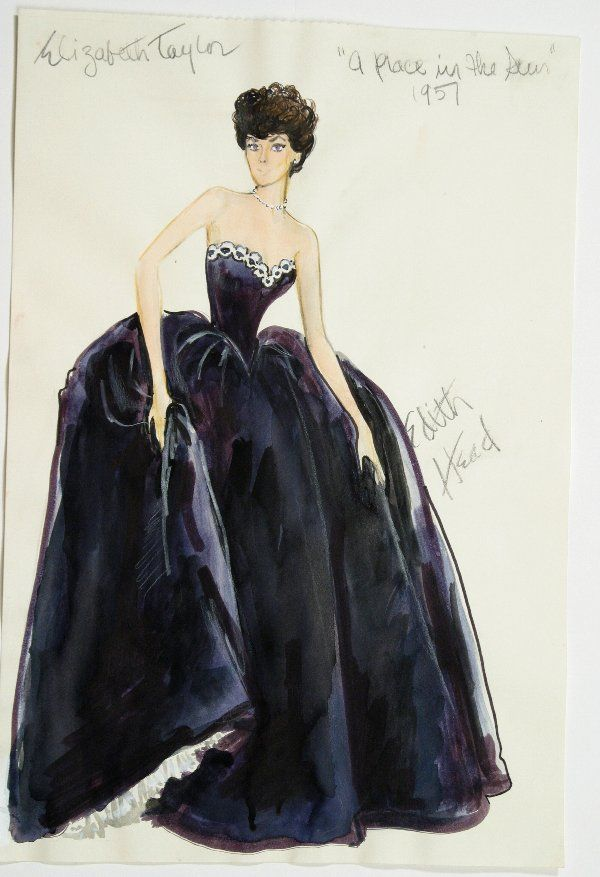 "Costume design by Edith Head for Elizabeth Taylor in ""A Place in the Sun"" (1951)"