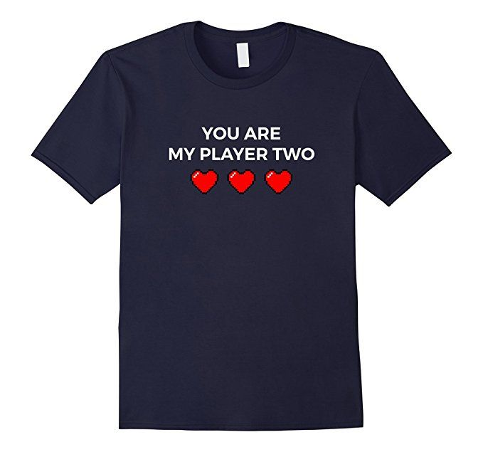 Men's My Player Two T-shirt for Valentine Day and Gift for Nerd 2XL Navy