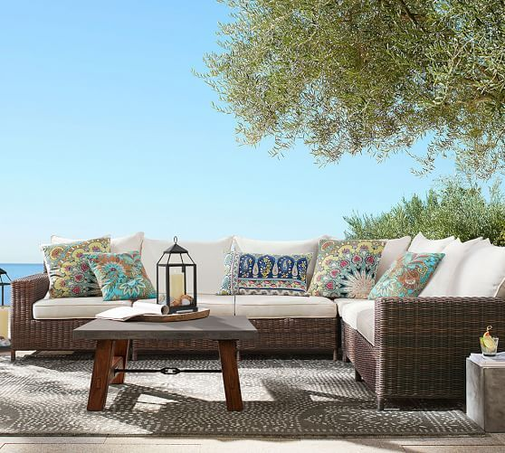 Torrey All-Weather Wicker Square-Arm Sectional Set - Espresso | Pottery Barn