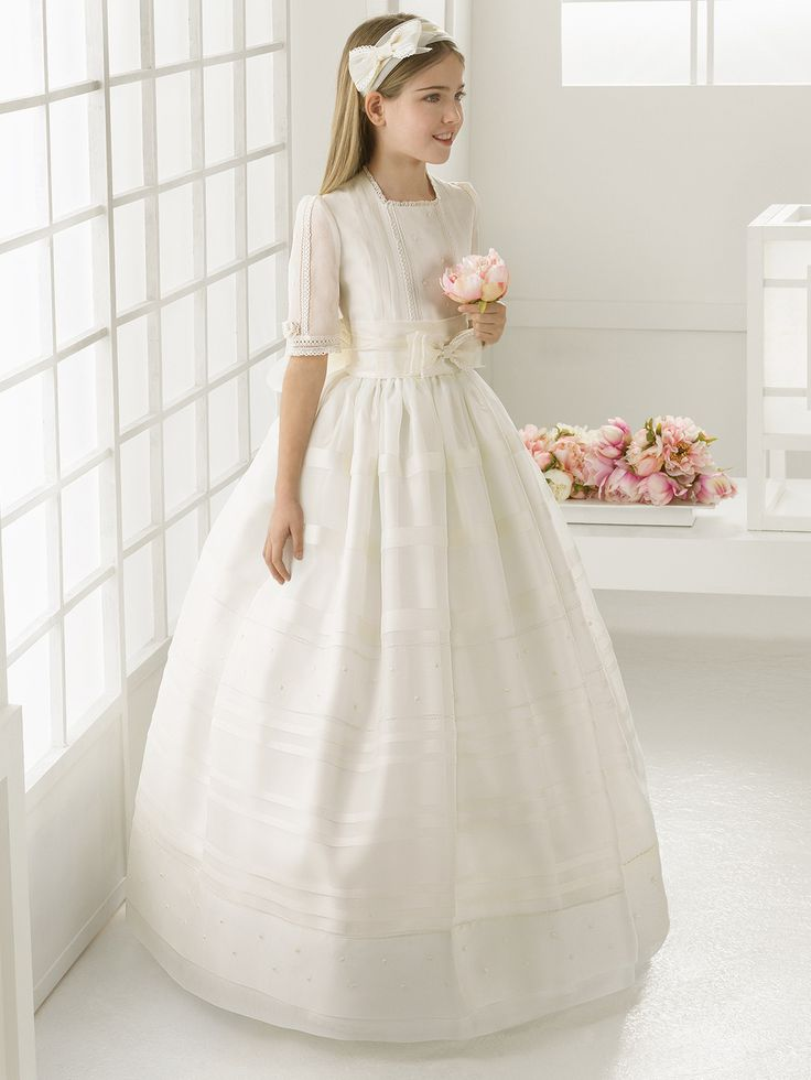 Square Neck Ball Gown Pattern Organza Communion Dress with Bow Ribbon