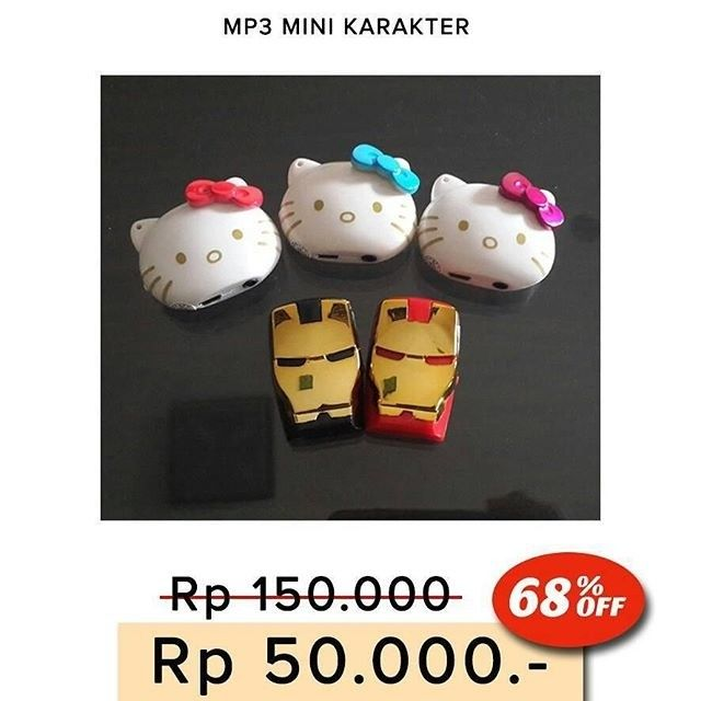 NEW  MP3 PLAYER KARAKTER Hello Kitty dan Iron Man Captain America Doraemon minion  Ukuran mini & unik - Memutar lagu-lagu MP3 dengan MicroSD. - Kualitas suara jernih - Kelengkapan: earphone dan usb cable data - Box Mika  Harga 50.000  Order:  Line : @ AZZAGADGET (pakai @ ya) Whatsapp : 081357776262  #mp3playerkarakter #mp3playerkarakterhellokitty #mp3playerkarakterironman #mp3playerkaraktermurah #mp3playerkaraktermurmer #mp3playerkaraktertermurah #mp3player #mp3playermurah #mp3players…