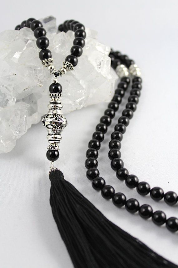 Onyx Mala Bead Necklace Black Onyx Mala por goodmedicinegemstone