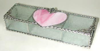 "Pink & Clear Heart Stained Glass Jewelry Box - 3 1/2"" x 9"" - $39.95  - Handcrafted Stained Glass Heart Design  * More at www.AccentOnGlass.com"