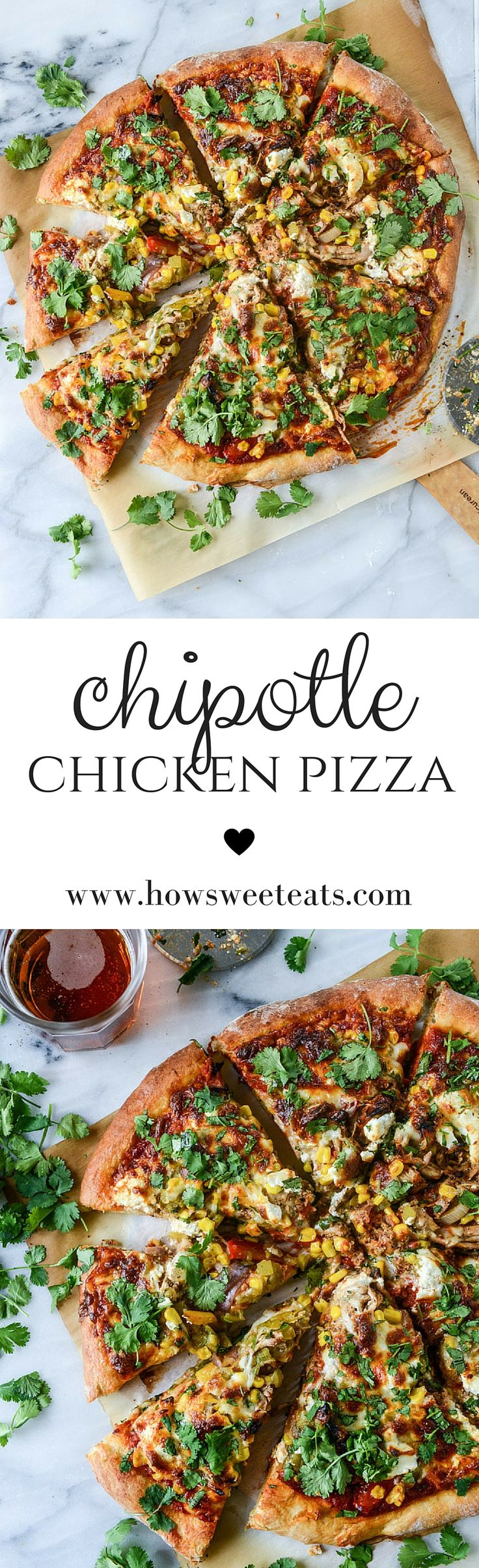 chipotle chicken pizza with goat cheese I howsweeteats.com