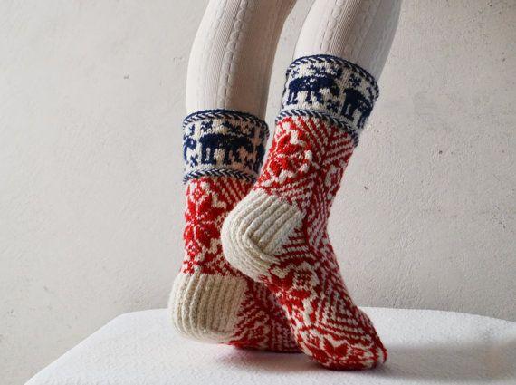 hand knit wool socks scandinavian wool socks womens от WoolSpace