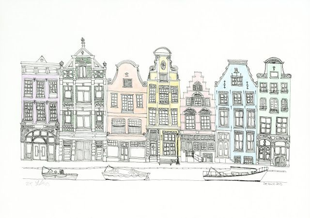 George with ears: Row of Amsterdam inspired houses with boats.  Line drawing and watercolour wash.