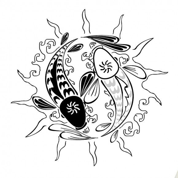 pisces tattoo yin yang and its all in a sun. Back of neck!
