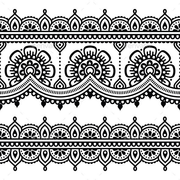 Mehndi, Indian Henna Tattoo Seamless Pattern by RedKoala vector ornament orient traditional style on white FEATURES:100 Vector Shapes All groups have names All elements are easy to modi