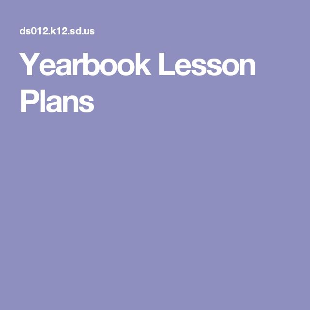 Yearbook Lesson Plans