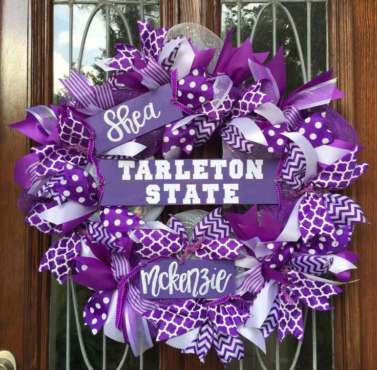 Tarleton State University! Custom made with hand painted signs. 9 types ribbon & custom calligraphy.