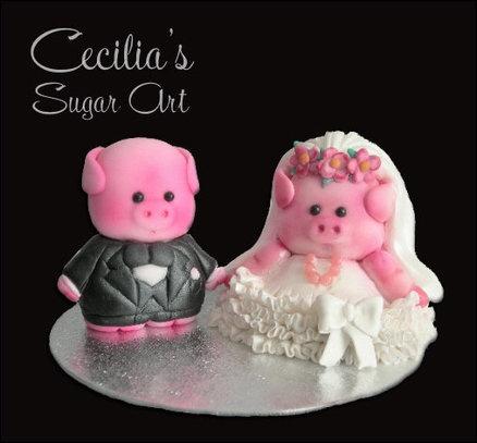 Wedding Pigs  Cake by Cecilia