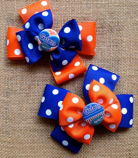 Florida Gators Baby Girl Football Hair Bow/  Orange and Blue Polka Dot Hair Clip on Etsy, $6.00