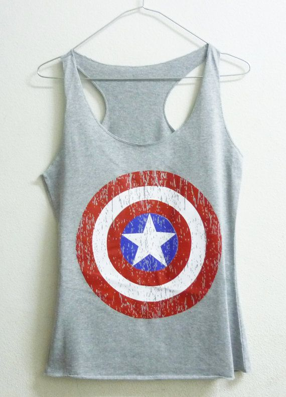 Teenage girl tank top XS captain america shirt super hero Grey women singlet sleeveless on Etsy, $12.00