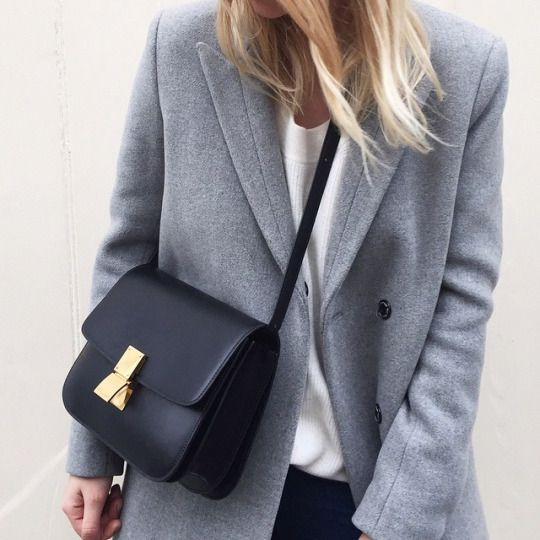 grey blazer coat and black celine bag | HarperandHarley