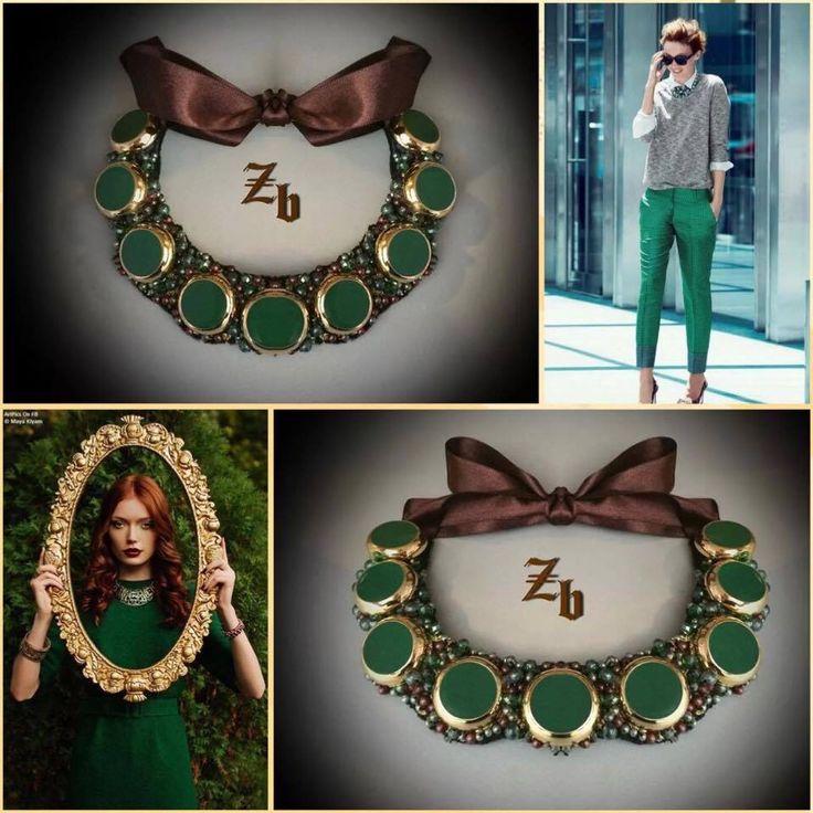Green&brown&gold z'ett bijou statement necklace
