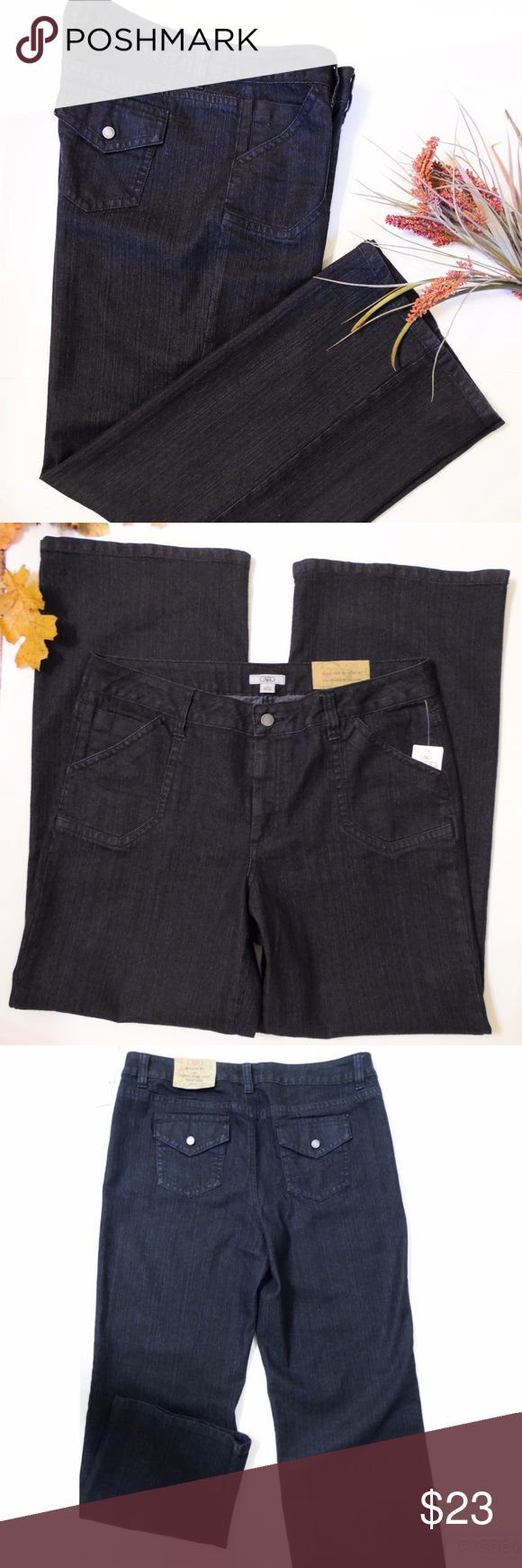 """Cato Wide Leg Trouser Jeans  Sz 14 These darling jeans are such a dark blue they almost look black, wide leg all the way down, button flap back pockets. The inseam at 33"""" is great for tall ladies or for wearing heels. NWT never worn. (Too big for mannequin & clipped on but helps show the jean's style)  Waist measures approx 19"""" flat across front Rise 11"""", back rise 16.5"""" Low hip 23"""" Inseam 33"""" Leg opening flat across front 11.5"""" (leg width stays approx 11"""" to 12""""  entire length of leg) Cato…"""