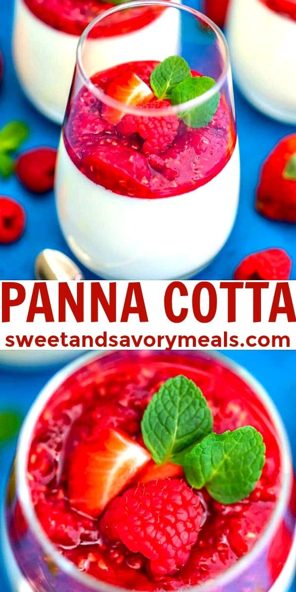 Panna Cotta is an elegant custard dessert, often served with fruits and a sweet sauce.