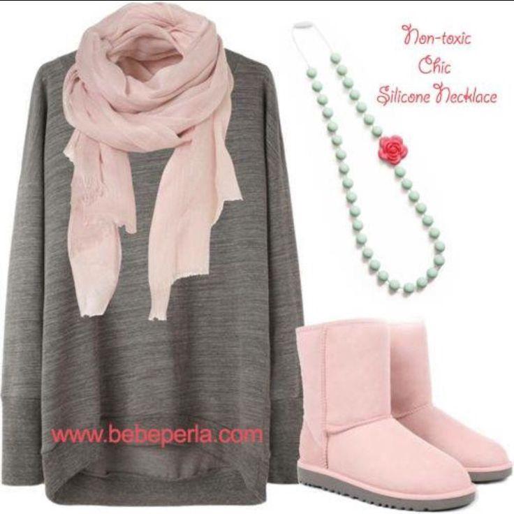 The perfect accessory to the mom uniform! #moms #momlife #uggs #prettyinpink #winterfashion www.bebeperla.com