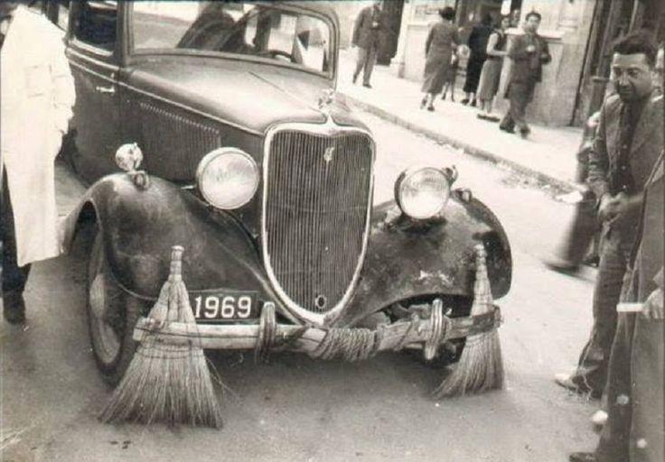 Ev yapımı cadde süpürgesi, ca.  1930'lar