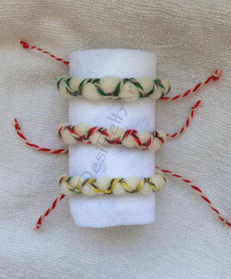 Мартеници за ръка от жива вълна | Ръчна изработка