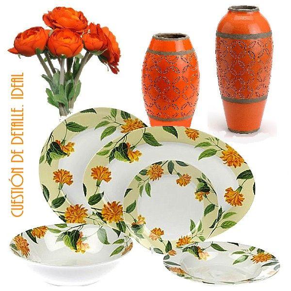 Flores, jarrones y vajillas con tonos naranjas.