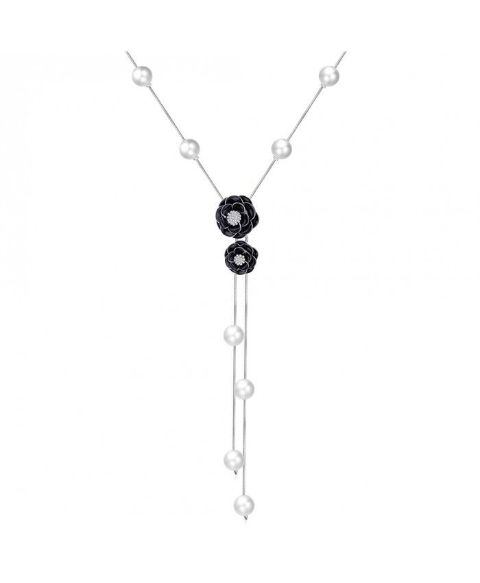 Ouruora Black Stoving Varnish Rose Flower Chain Necklace