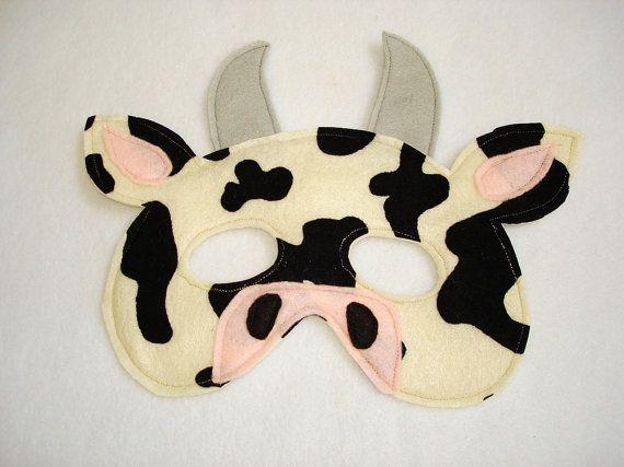 Animal de granja vaca infantil fieltro máscara