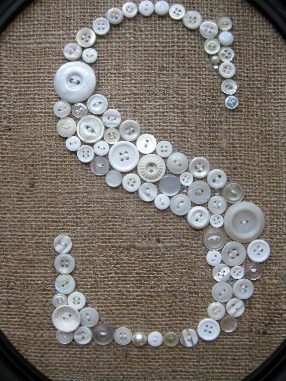 Button Monogram Letter S Vintage Buttons Burlap by EufemiaBella