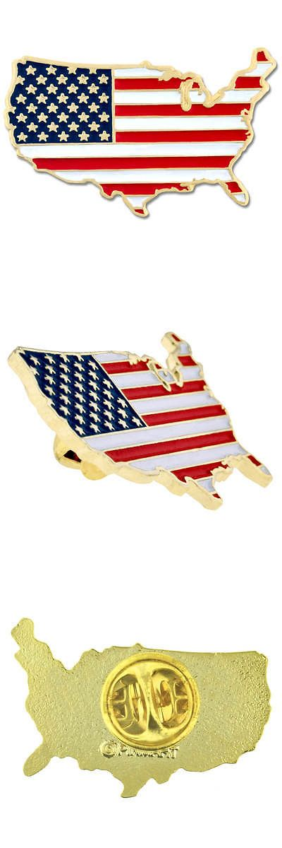 Pins and Brooches 50677: Pinmarts United States Outline American Flag Patriotic Enamel Lapel Pin -> BUY IT NOW ONLY: $117.98 on eBay!