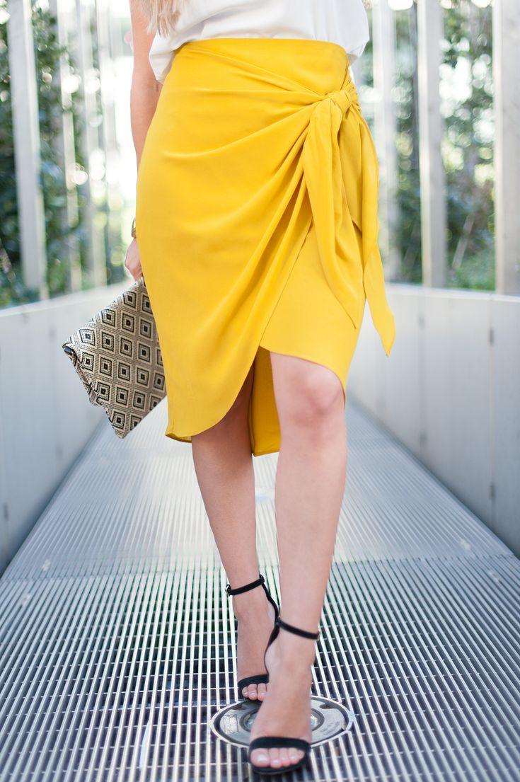 jupe portefeuille zara jaune moutarde blog mode talons aiguilles