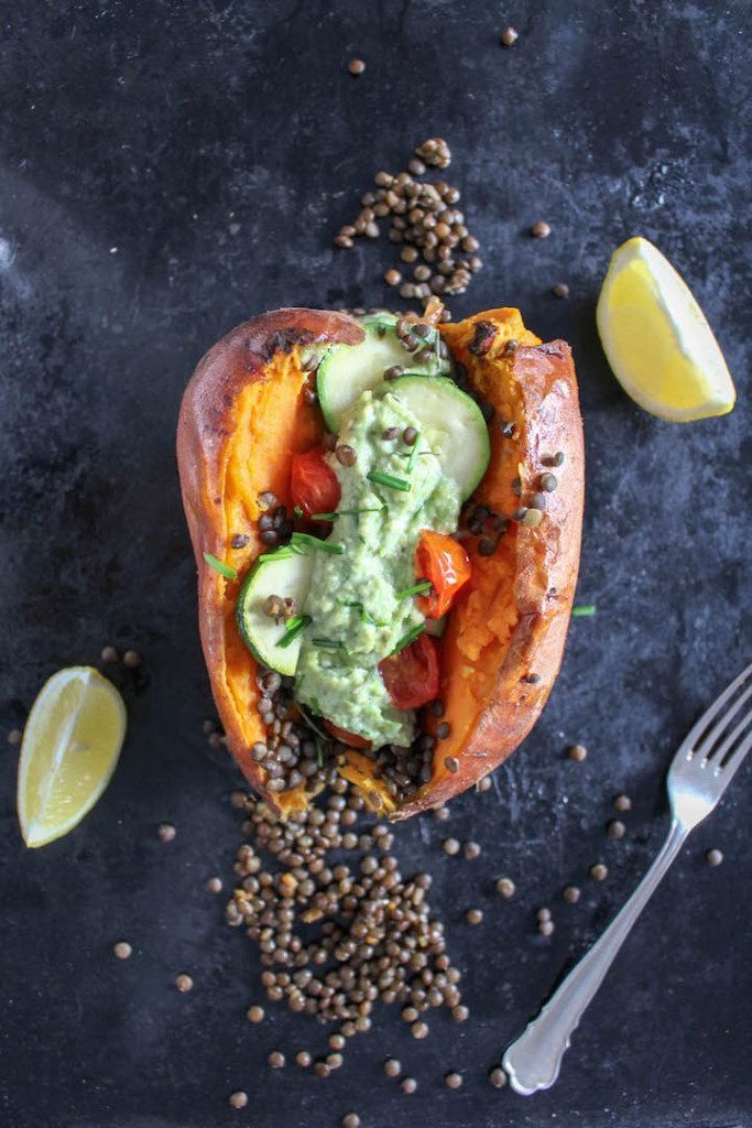 Stuffed loaded sweet potatoes with cashew chives and lentils make a quick vegan meal