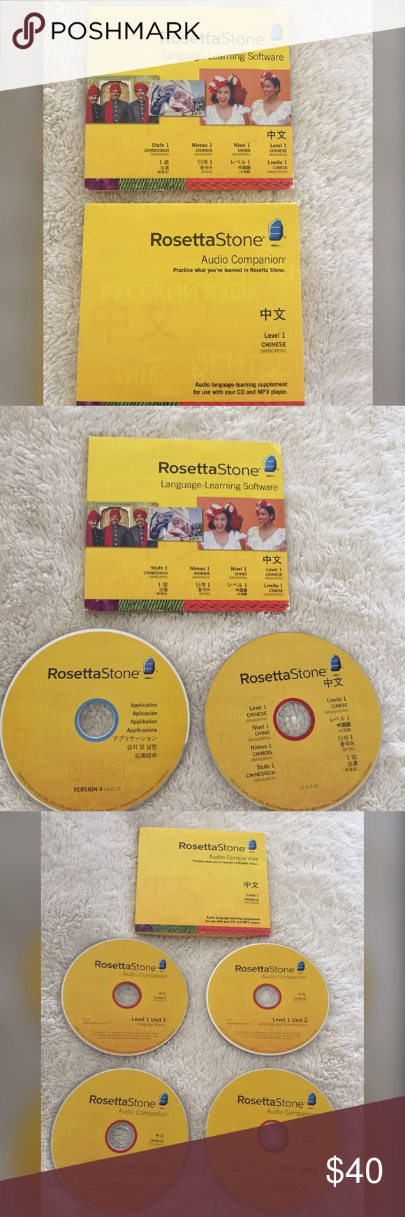 Rosetta Stone Chinese (Mandarin) Rosetta Stone learn Chinese (Mandarin) Level 1 DVD series. Includes the language learning software: 2 DVDs 1. Application and Level 1 Chinese DVD. Other set has the Level 1 Audio Companion with 4 DVDs: Unit 1 language basics. Unit 2 greetings & introductions. Unit 3 work & school. Unit 4 shopping. Mild wear to the bottom right corner of the language learning software cover. Otherwise perfect condition. Open to reasonable offers. Rosetta Stone Other