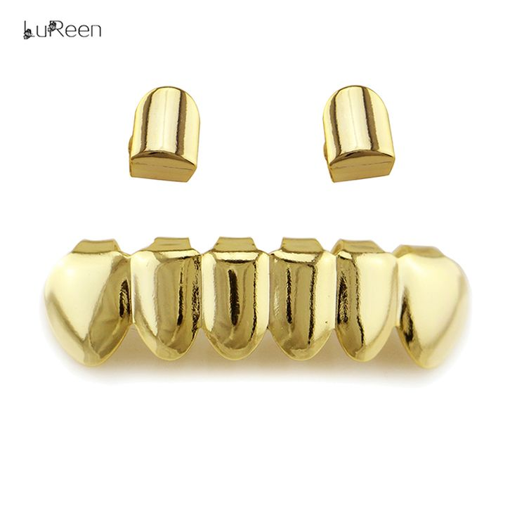 LuReen Fashion Gold Teeth Grillz Top&Bottom Grills Hip Hop Tooth Grillz Dental Halloween Vampire Teeth Caps Jewelry Party LD0044