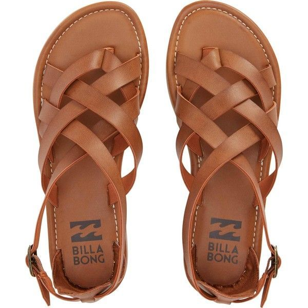 Billabong Women's Seaing Double (£36) ❤ liked on Polyvore featuring shoes, sandals, flats, sapatos, zapatos, footwear, desert brown, flats sandals, strappy flats and ankle tie sandals