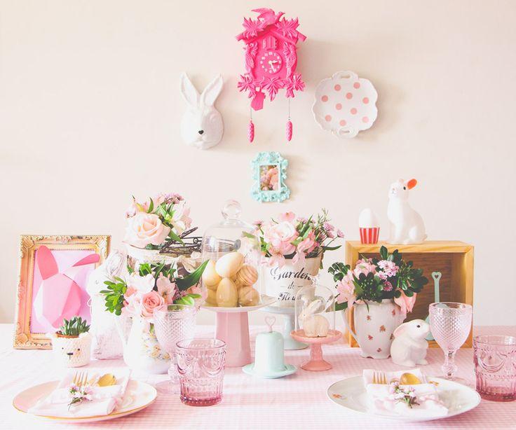 easter decor decoração páscoa mesa rosa tons pastel blog do math