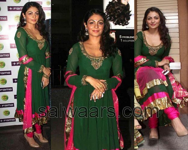 Neeru Bajwa in Designer Anarkali   --- Dark green and pink...