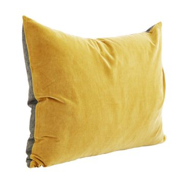 A luxurious velvet cushion in a rich mustard. Perfect for adding a pop of colour to a sofa or bed. Grey reverse.